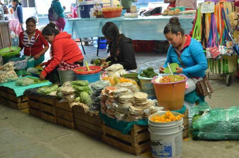 Mercado San Juan de Dios, women peeling cactus leaves / ©Maya Sankey-Black
