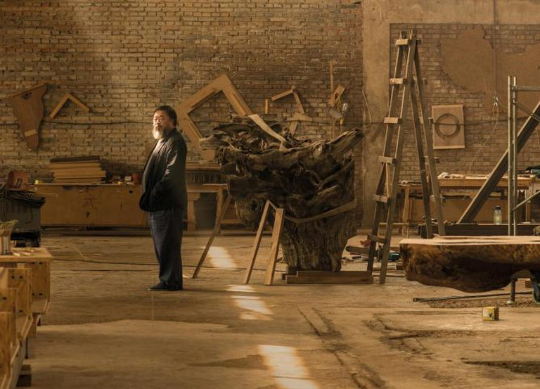Ai Weiwei in his studio in Beijing, taken in April 2015 | © Harry Pearce/Pentagram, 2015