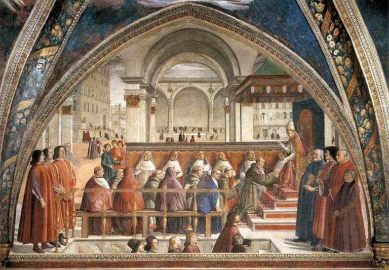 Domenico Ghirlandaio, Confirmation of the Rule, 1483-85, Fresco, Santa Trinità, Florence | © Perle Artistiche/Flickr