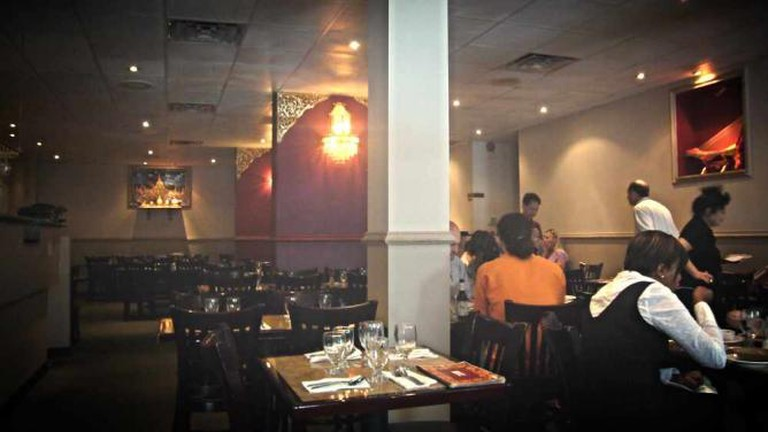 The interior setting of Rangoon Burmese Restaurant.