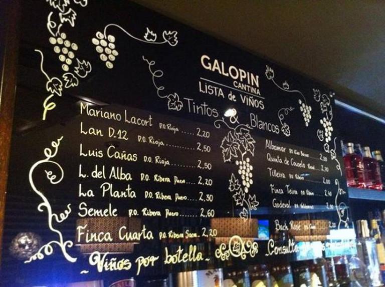 Wine list   Courtesy of Galopín Cantina