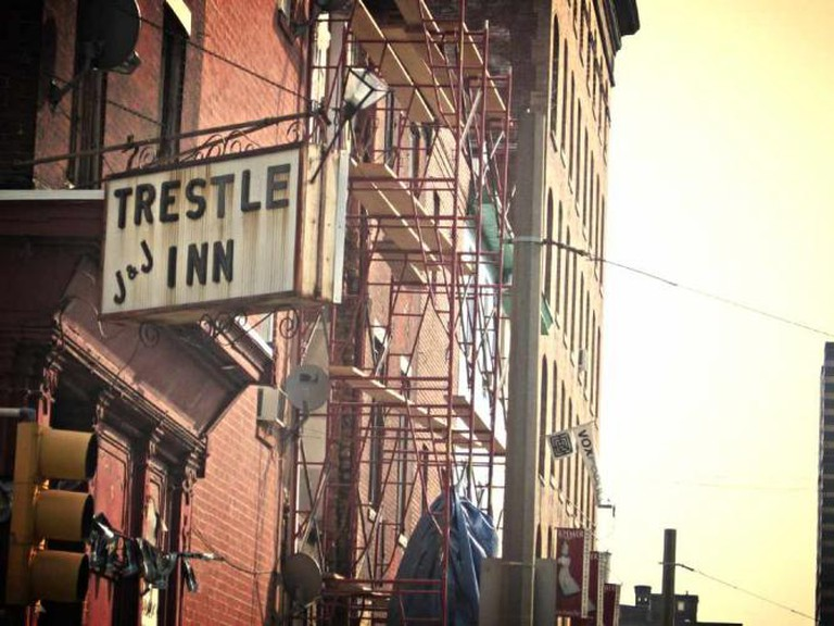 The front corner of The Trestle Inn at 11th and Callowhill streets in Philadelphia.