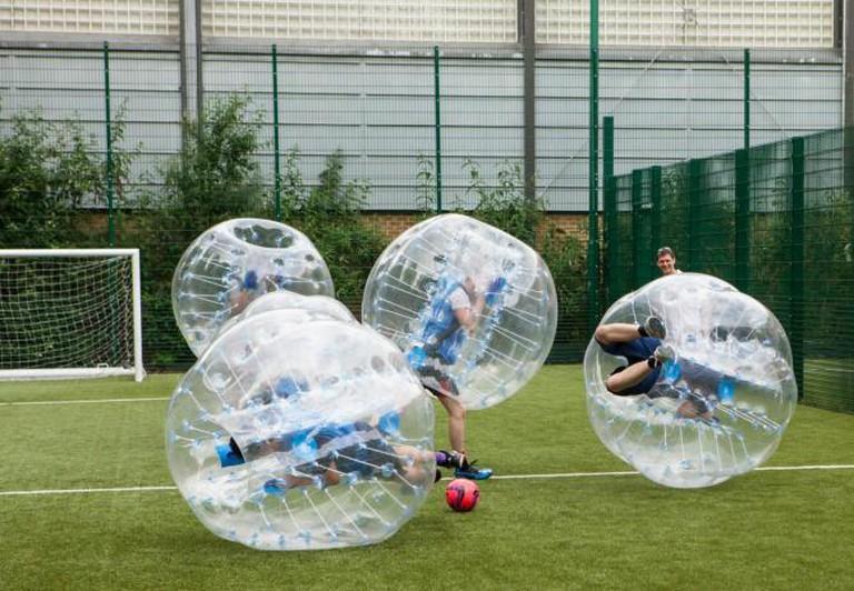 Bubble Football in action I Courtesy of The London Bubble Football Company Ltd