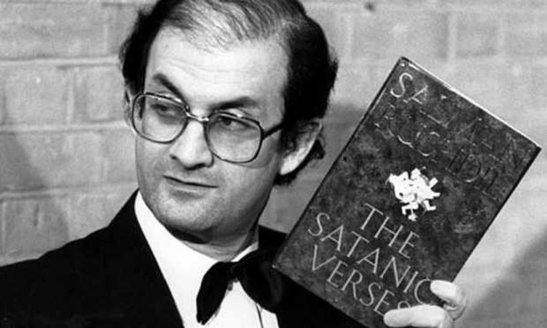 Salman Rushdie wins the 1988 Whitbread Award. Photograph: Graham Turner/Guardian