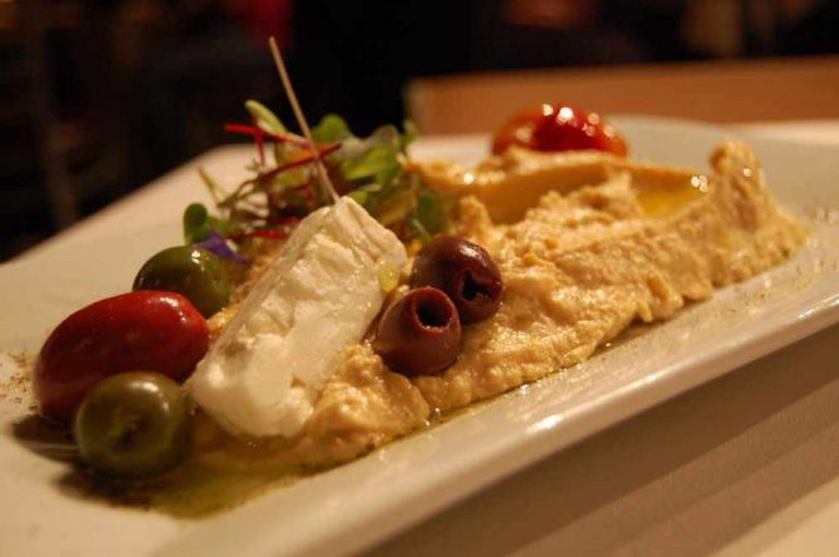 Hummus, feta, and olives