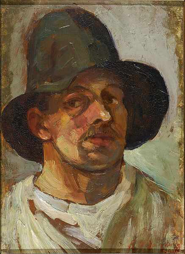 Theo van Doesburg Selfportrait with hat | © lakenhal.nl/WikiCommons