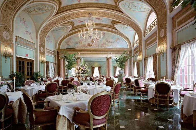 The exquisite, upscale interior of The French Room inside the Adolphus Hotel.