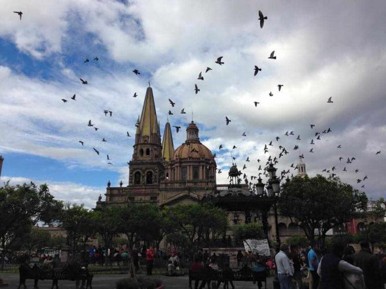Guadalajara Cathedral from Plaza de Armas   courtesy of Alison Crosland