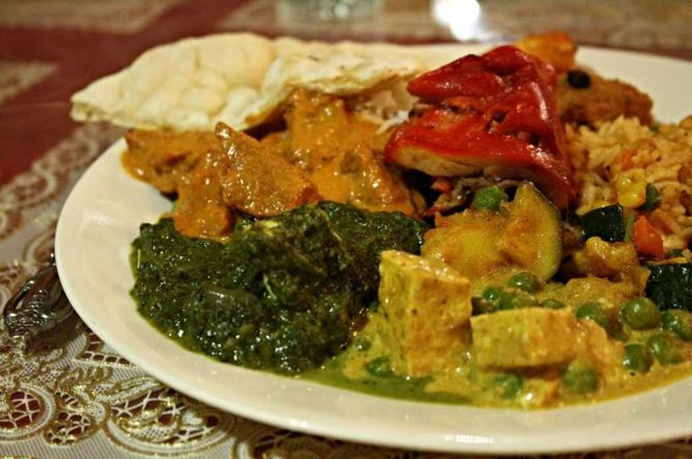 A plate of authentic Indian cuisine reflects the range of food served at the buffet of Shiva Bar & Grill.