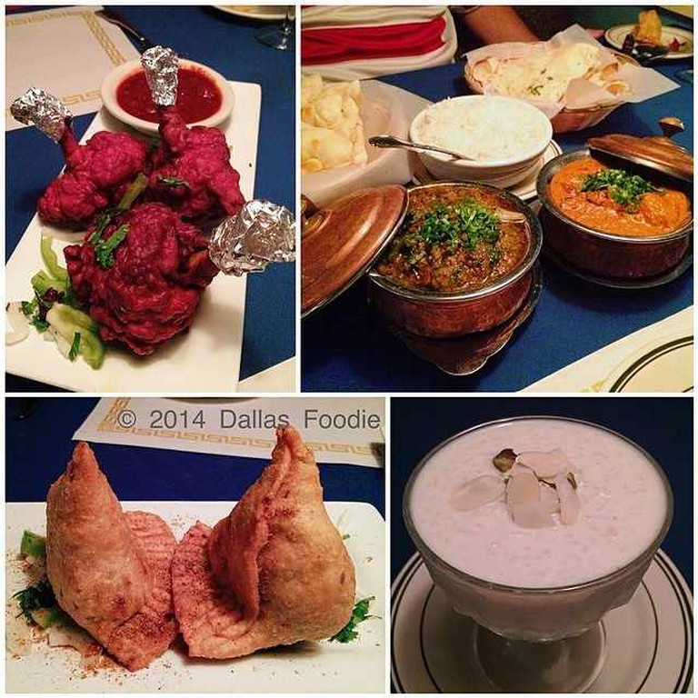 A range of foods including samosas are shown at Underground Indian Cuisine.