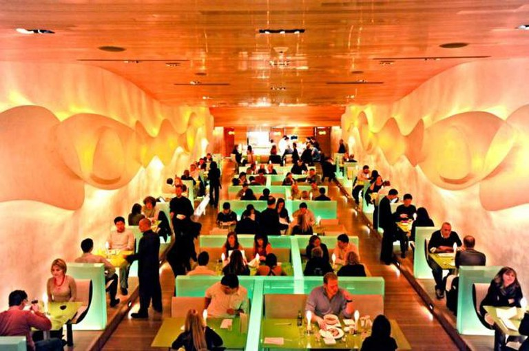 The interior of Morimoto with it's color-changing booths.