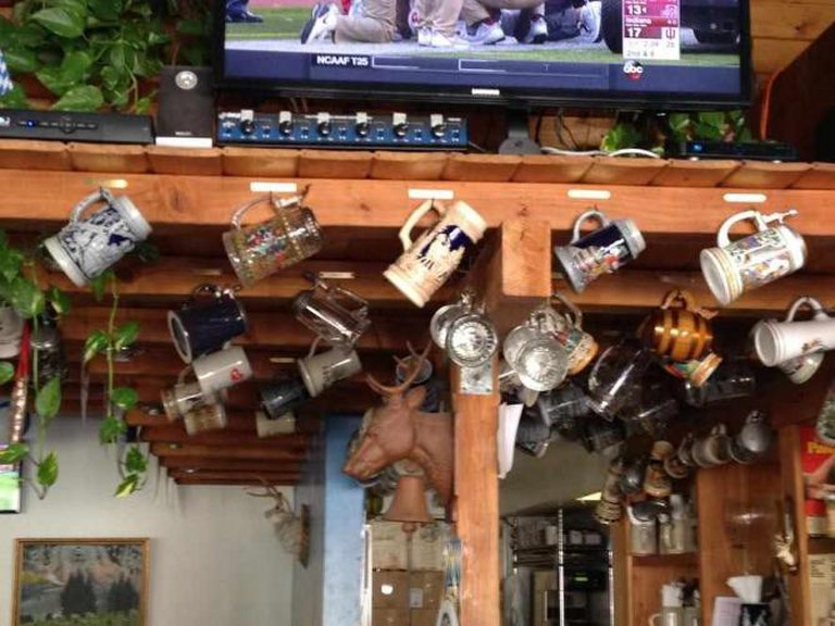 Beer steins on display at Wirtshaus. I Courtesy Of Ryland Lu