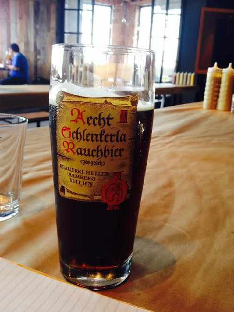 Rauchbier in its custom serving glass I Courtesy of Ryland Lu