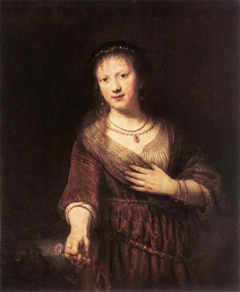Rembrandt van Rijn, Saskia van Uylenburgh as Flora, 1641, Gemäldegalerie Alte Meister | © WikiCommons