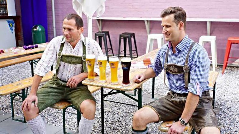 An Oktoberfest event takes place in Dacha's outdoor beer garden.