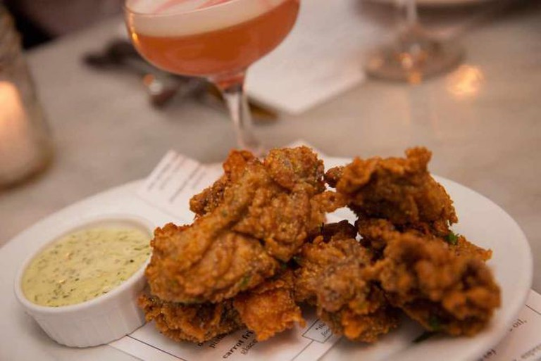 Pan fried oysters at the Walrus and the Carpenter
