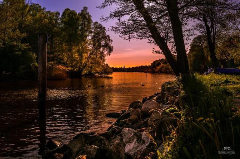 Sunset and stream at Djurgården