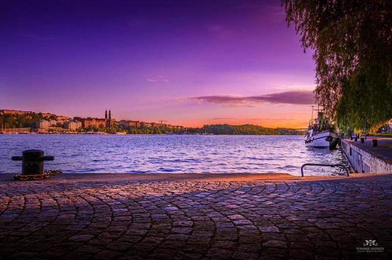 Purple sunset over Söder Mälarstrand and Långholmen