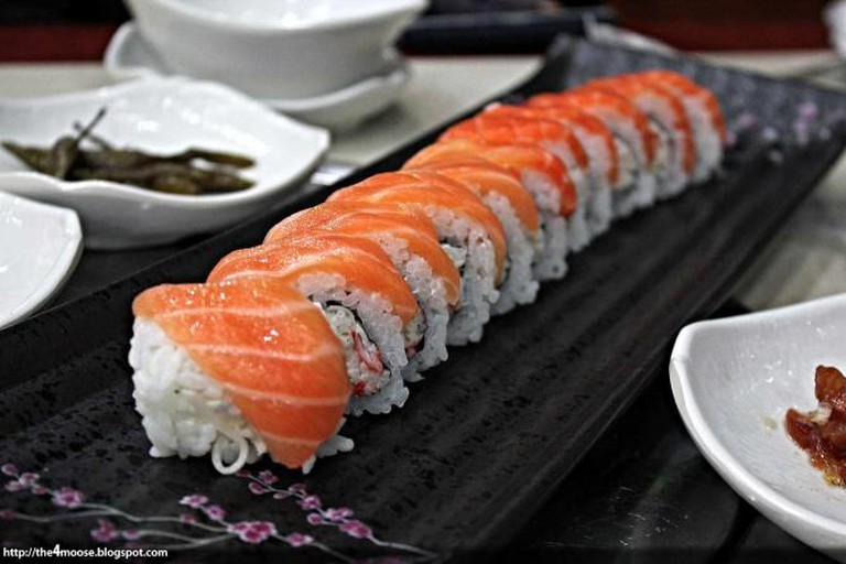 An upscale sushi roll with fresh fish much like the ones at Zama in Rittenhouse, Philadelphia.