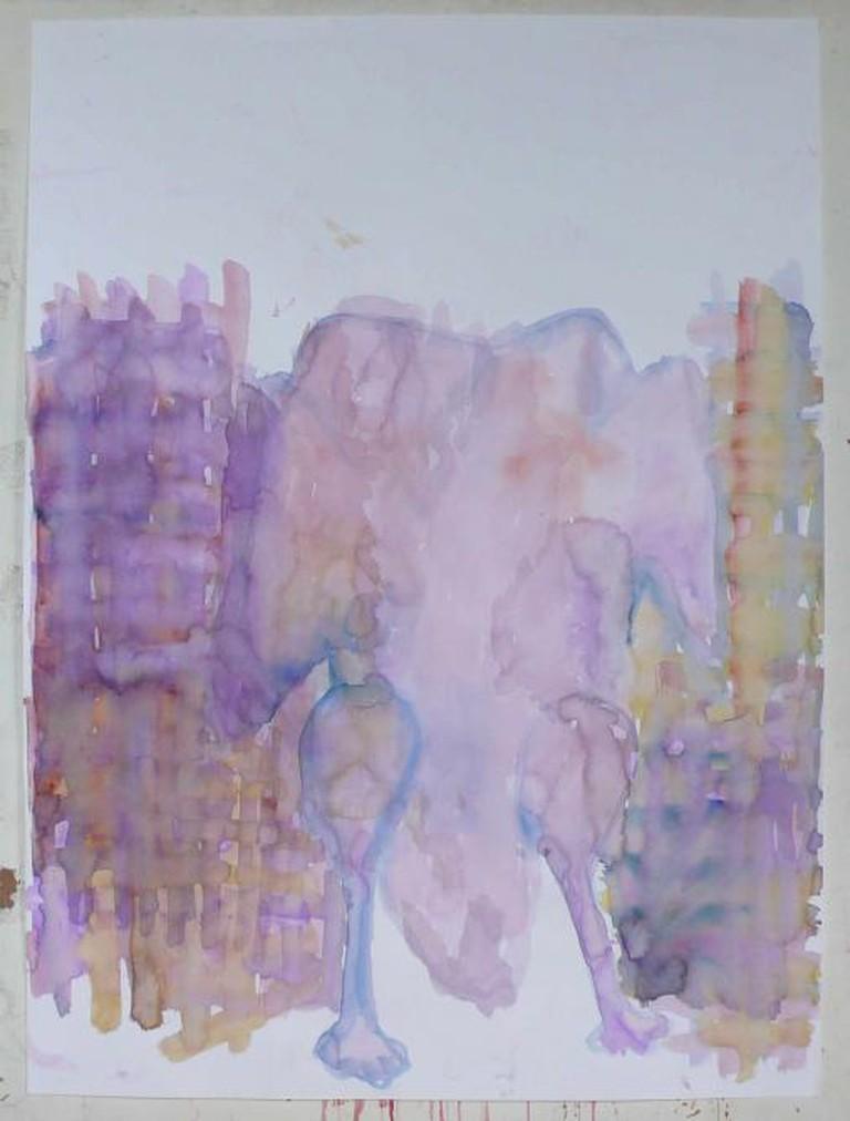 Varda Getzow, Ein Huhn ohne Kopf, 2015, Watercolor on paper, 102 x 73 cm | © Varda Getzow