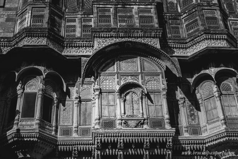 Intricately carved walls of Mehrangarh Fort