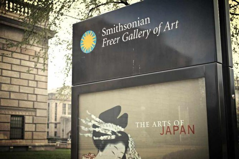 The sign for the Freer Gallery of Art, part of the Smithsonian.