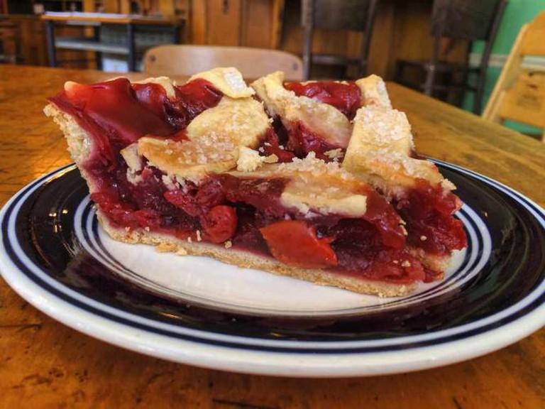 Piece of Michigan sour cherry pie   © Benita Gingerella