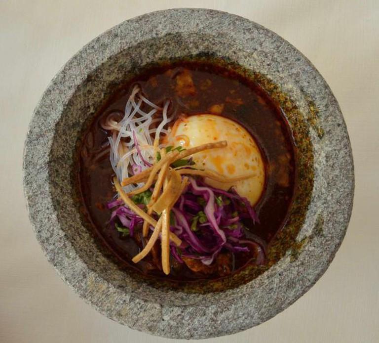 'Ramen pozole' by Chef Carlos Gaytán, from 'Mexique', Chicago I © Maya Sankey Black