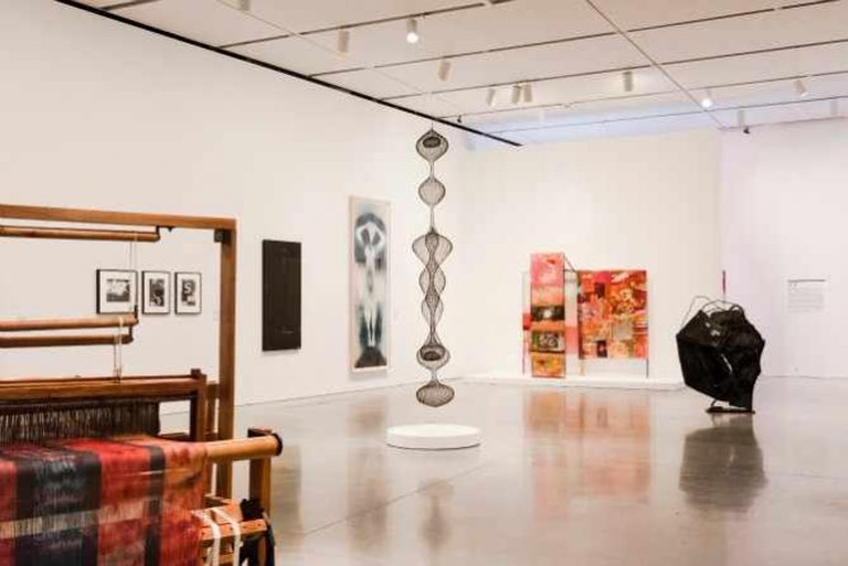 """nstallation view, """"Leap Before You Look: Black Mountain College 1933-1957, Institute of Contemporary Art, Boston (2015) Photo by Liza Voll."""