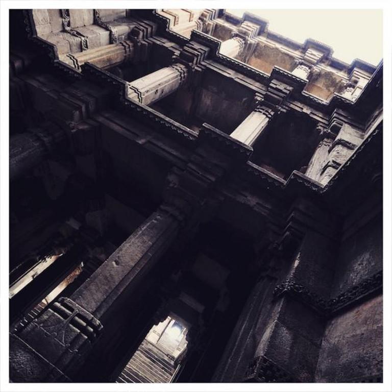 Pillars on each floor make for a pretty view inside Dada Harir ni Vav | © Aditi Gupta