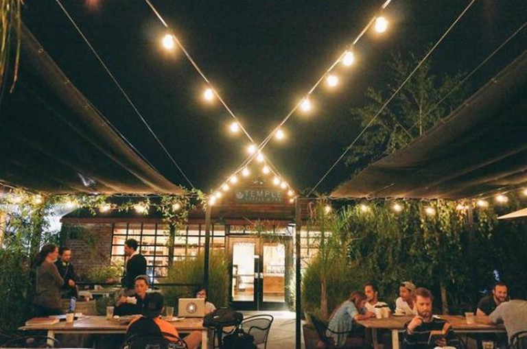 The terrace at Temple Coffee's Midtown café| Courtesy of Temple Coffee