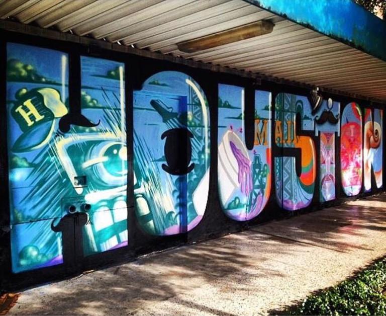 Grafitti mural inside the letters spelling, 'HOUSTON'