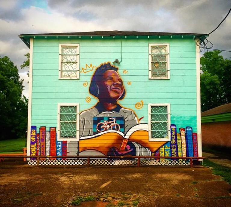 Graffiti transformed this house into art.