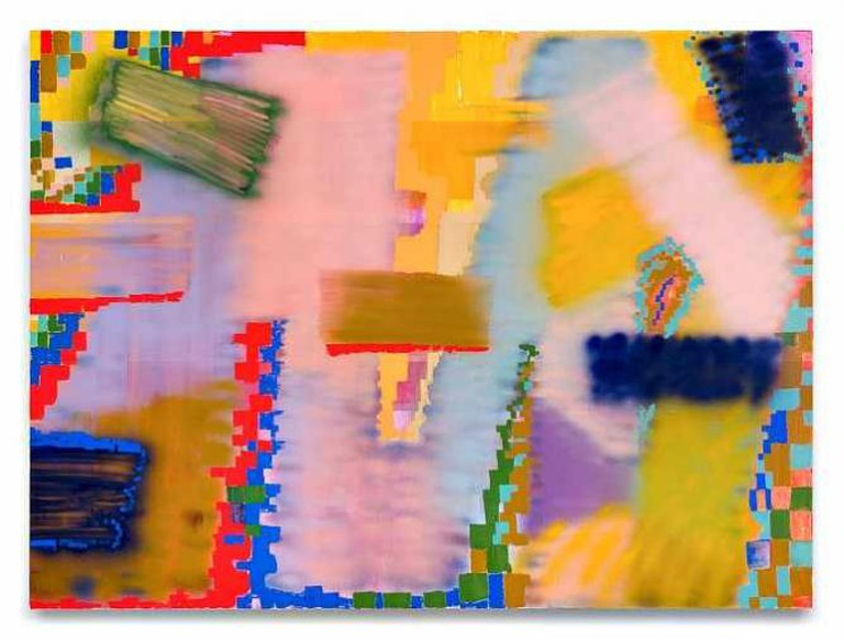 Keltie Ferris, W(A(V)E)S, 2015, Acrylic and oil on canvas, 96 by 130 in.  (243.8 by 330.2 cm)   © Keltie Ferris; Courtesy of the artist and Mitchell-Innes & Nash, New York