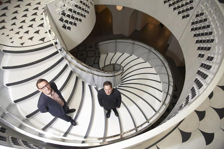 Architects Peter St John (left) and Adam Caruso (right) on their new Tate Britain staircase | © Andy Hall / Guardian