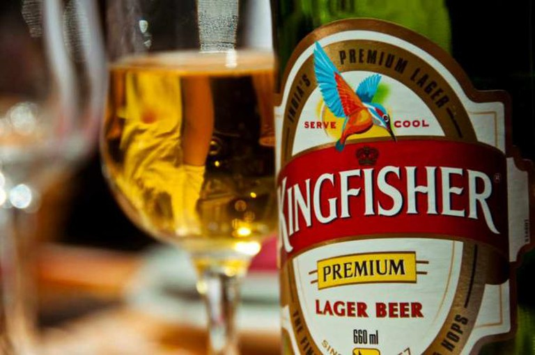 Kingfisher Indian beer is served along with other Indian imports at Saffron Indian Bistro.