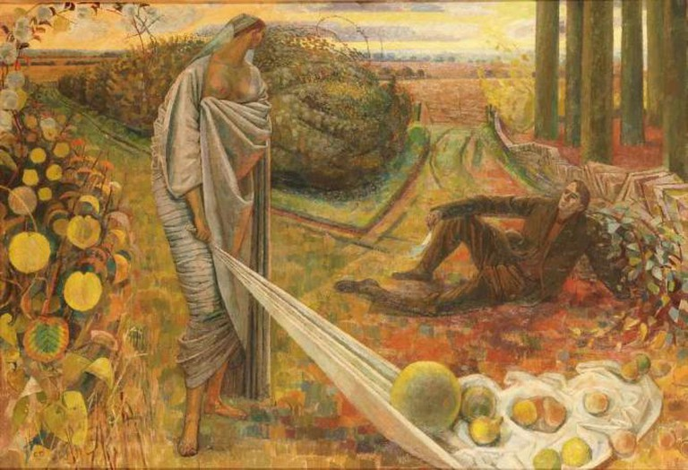 Evelyn Dunbar - Autumn and the Poet   The Artist's Estate, courtesy of Liss Llewellyn Fine Art