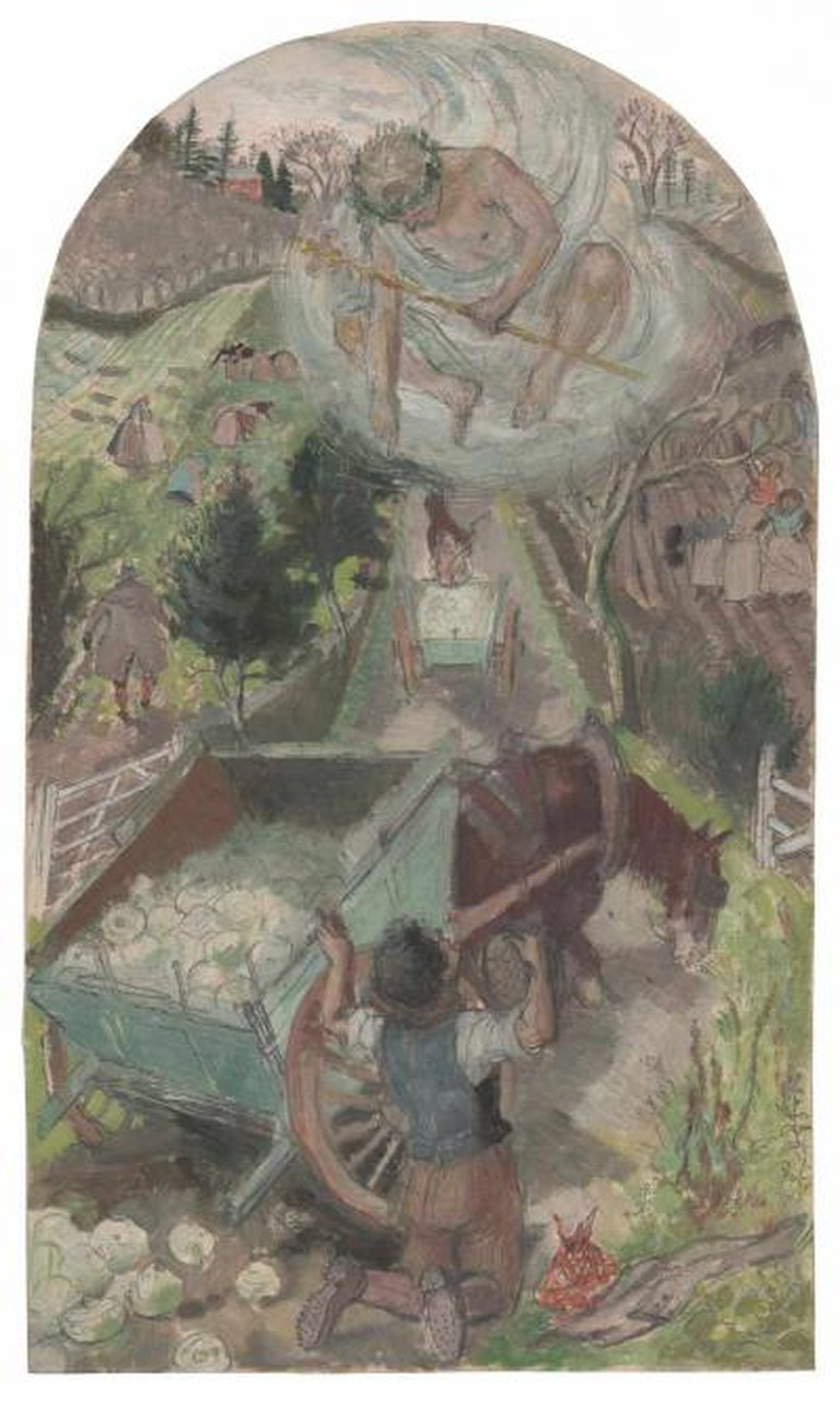 Evelyn Dunbar - Hercules and the Waggoner   The Artist's Estate, courtesy of Liss Llewellyn Fine Art