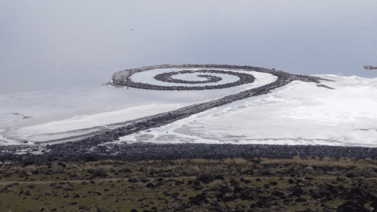 """Robert Smithson's """"Spiral Jetty"""" as seen from Rozel Point"""