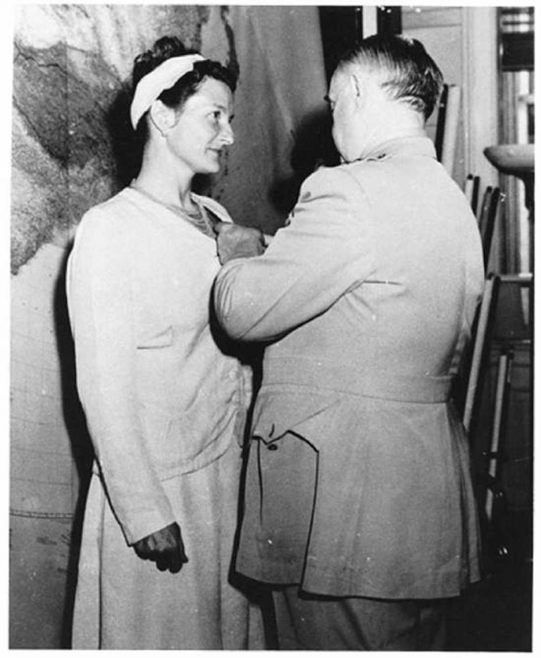 Virginia Hall receiving the Distinguished Service Cross