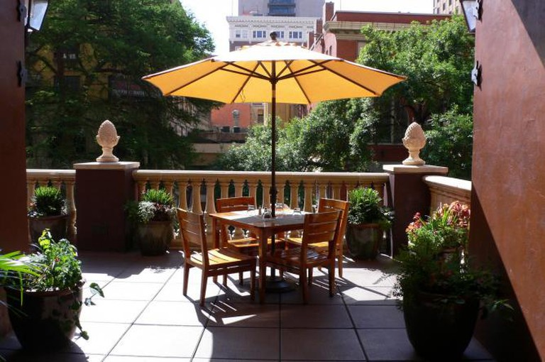 On the terrace at Hotel Valencia Riverwalk