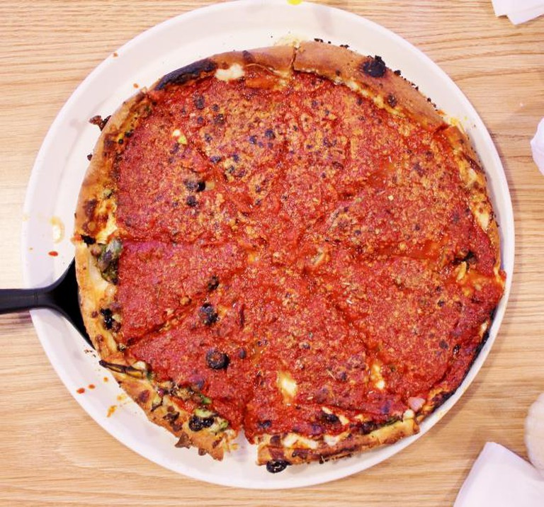 """Deep dish """"The Works"""" pizza at Pudgy's"""