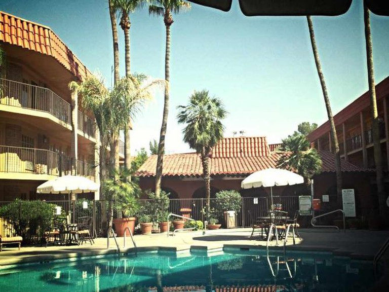 The pool and courtyard at the Embassy Suites.