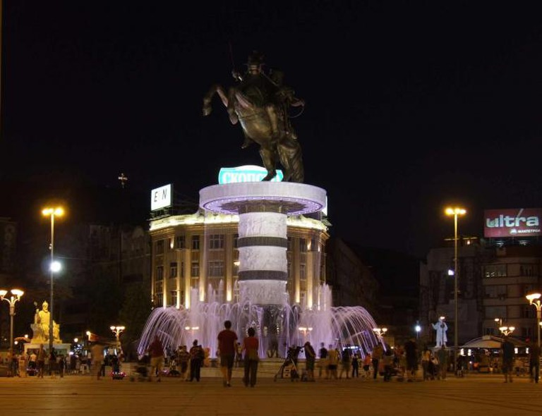 Alexander the Great statue and fountain in Skopje