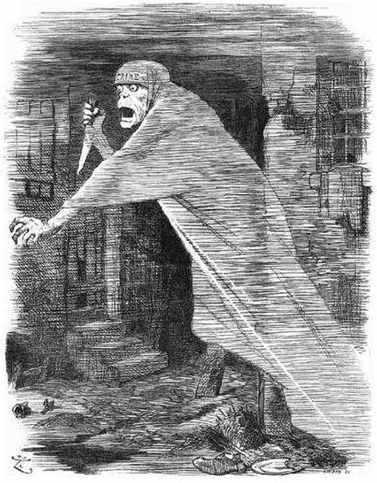 'The Nemesis of Neglect' A Punch cartoon depicting Jack the Ripper in 1888 © John Tenniel, wikicommons