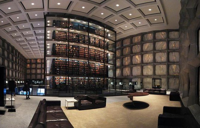 Panoramic interior view of the Beinecke's mezzanine level