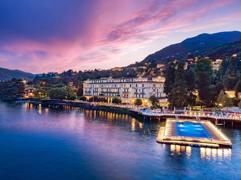 """Hotel """"Villa d'Este"""", gardens with annexe, Cernobbio, Lake Como, Como region, Lombardy, Italy, Europe"""