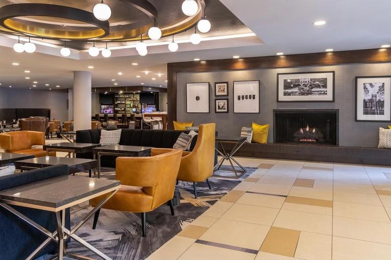 The stylish bar at the Sheraton Ann Arbor Hotel