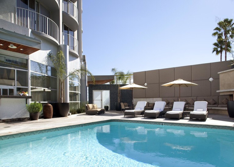 The 17th floor of Hotel Angeleno offers panoramic views of the downtown skyline