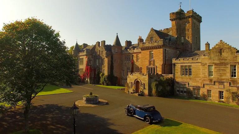Exterior of Glenapp Castle Hotel and entrance door, Ballantrae, Ayrshire, Scotland, UK
